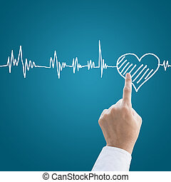 Hand medical with heart pulse