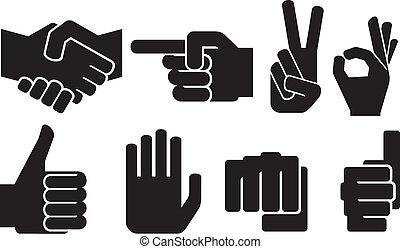 hand, menselijk, verzameling, meldingsbord