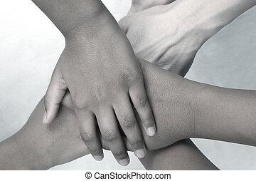 hand, mensen, elkaar, bovenzijde, taste