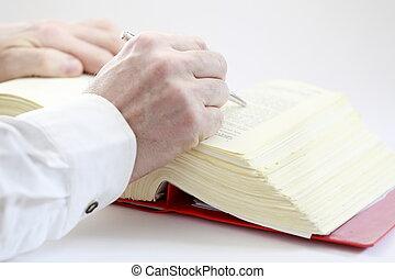 hand, met, boek