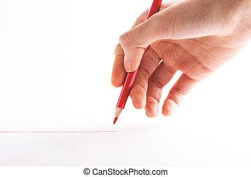 hand, met, de, rood potlood, op, een, witte achtergrond
