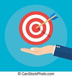 hand, met, doel, en, arrow., handel concept