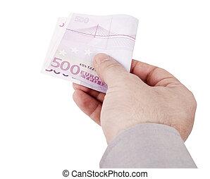 hand, met, eurobiljetten