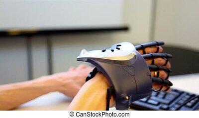 hand, met, feitelijk, manipulator, bewegingen, op,...