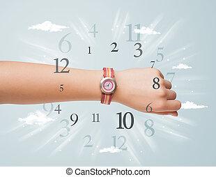 hand, met, horloge, en, getallen, op, de, bovenkant,...