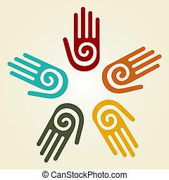 hand, met, spiraal, symbool, in een cirkel