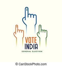 hand, met, stemming, meldingsbord, voor, verkiezing