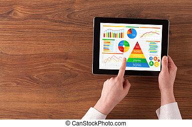 hand, met, tablet, analyseren, de, alledaags, voedingsmiddelen, rapport