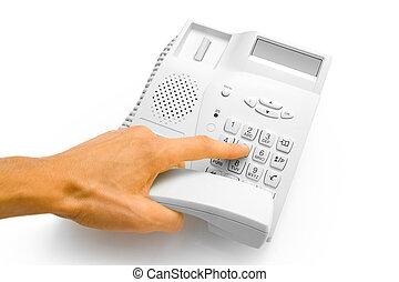 hand, met, telefoon