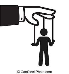 hand, met, touwtje, marionet