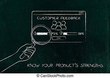 hand, met, vergrootglas, analyzing, positief, terugkoppeling, product, strengths