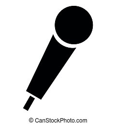 Hand microphone icon black color illustration flat style simple image