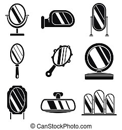 Hand mirror icons set, simple style