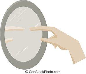 Hand mirror, illustration, vector on white background.