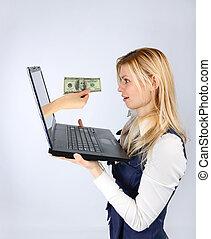 hand, mit, geld, heraus, von, laptop, angebote, geld, zu, a, frau