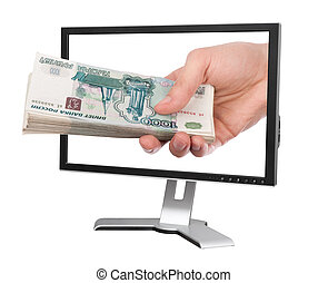 hand, mit, geld, und, computermonitor