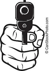 hand, mit, gewehr, (pistol), gewehr, spitz-