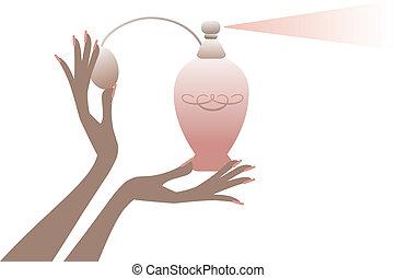 hand, mit, parfümflasche, vektor
