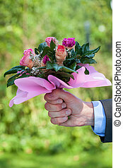 hand, mit, rosen