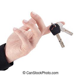 hand, mit, schlüssel