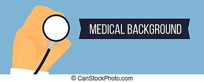 hand, mit, stethoskop, medizin, vektor, banner.