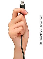 hand, mit, usb kabel