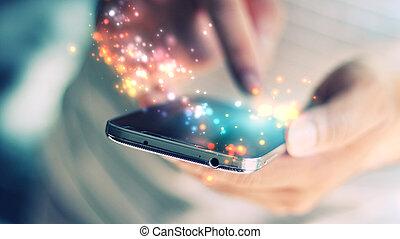 hand, mobil, smart, tel., maskinskrivning