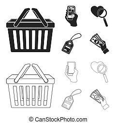 Hand, mobile phone, online store and other equipment. E commerce set collection icons in black, outline style bitmap symbol stock illustration web.