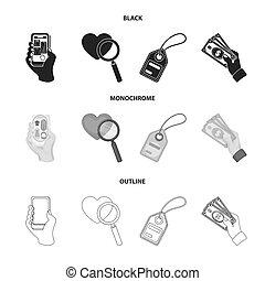 Hand, mobile phone, online store and other equipment. E commerce set collection icons in black, monochrome, outline style bitmap symbol stock illustration web.