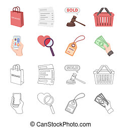 Hand, mobile phone, online store and other equipment. E commerce set collection icons in cartoon, outline style bitmap symbol stock illustration web.