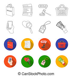 Hand, mobile phone, online store and other equipment. E commerce set collection icons in outline, flat style bitmap symbol stock illustration web.