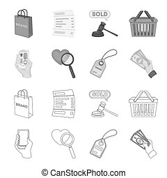 Hand, mobile phone, online store and other equipment. E commerce set collection icons in outline, monochrome style bitmap symbol stock illustration web.