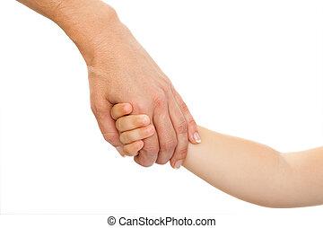 hand., moeders, vasthouden, baby's, hand