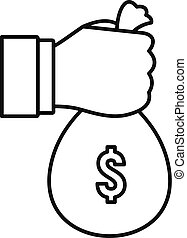 Hand money bag icon, outline style