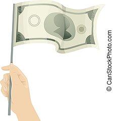 Hand Money Flag Illustration