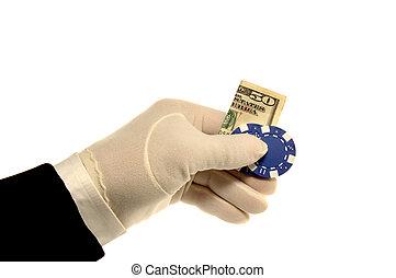Hand, Money & Poker ChipHand, Money & Poker Chip - White...