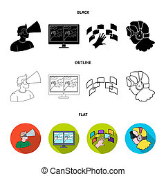 Hand, monitor, headphones, woman .Virtual reality set collection icons in black, flat, outline style bitmap symbol stock illustration web.