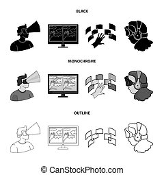 Hand, monitor, headphones, woman .Virtual reality set collection icons in black, monochrome, outline style bitmap symbol stock illustration web.