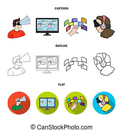 Hand, monitor, headphones, woman .Virtual reality set collection icons in cartoon, outline, flat style bitmap symbol stock illustration web.