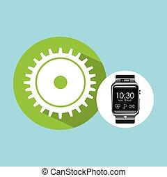 hand-, montre, engrenage, intelligent, progrès