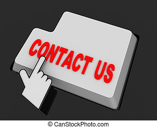 Hand Mouse Cursor Clicks the contact us Button. 3d rendered illustration