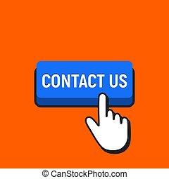 Hand Mouse Cursor Clicks the Contact Us Button.