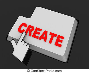 Hand Mouse Cursor Clicks the create Button. 3d  rendered illustration