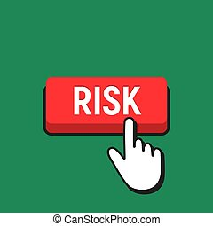 Hand Mouse Cursor Clicks the Risk Button. Pointer Push Press...