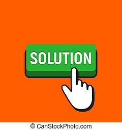 Hand Mouse Cursor Clicks the Solution Button.