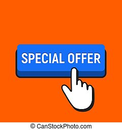 Hand Mouse Cursor Clicks the Special Offer Button.