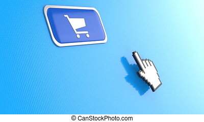 Hand mouse pointer click on shopping cart button