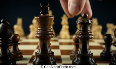 Hand Moves Chess Pawn First Move - Tracking shot passing...