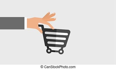 hand moving shopping cart icons