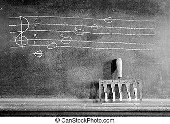 hand, musikalisches, skala, gezeichnet